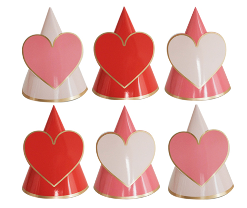 LOVELY HEART party hat [6pcs]